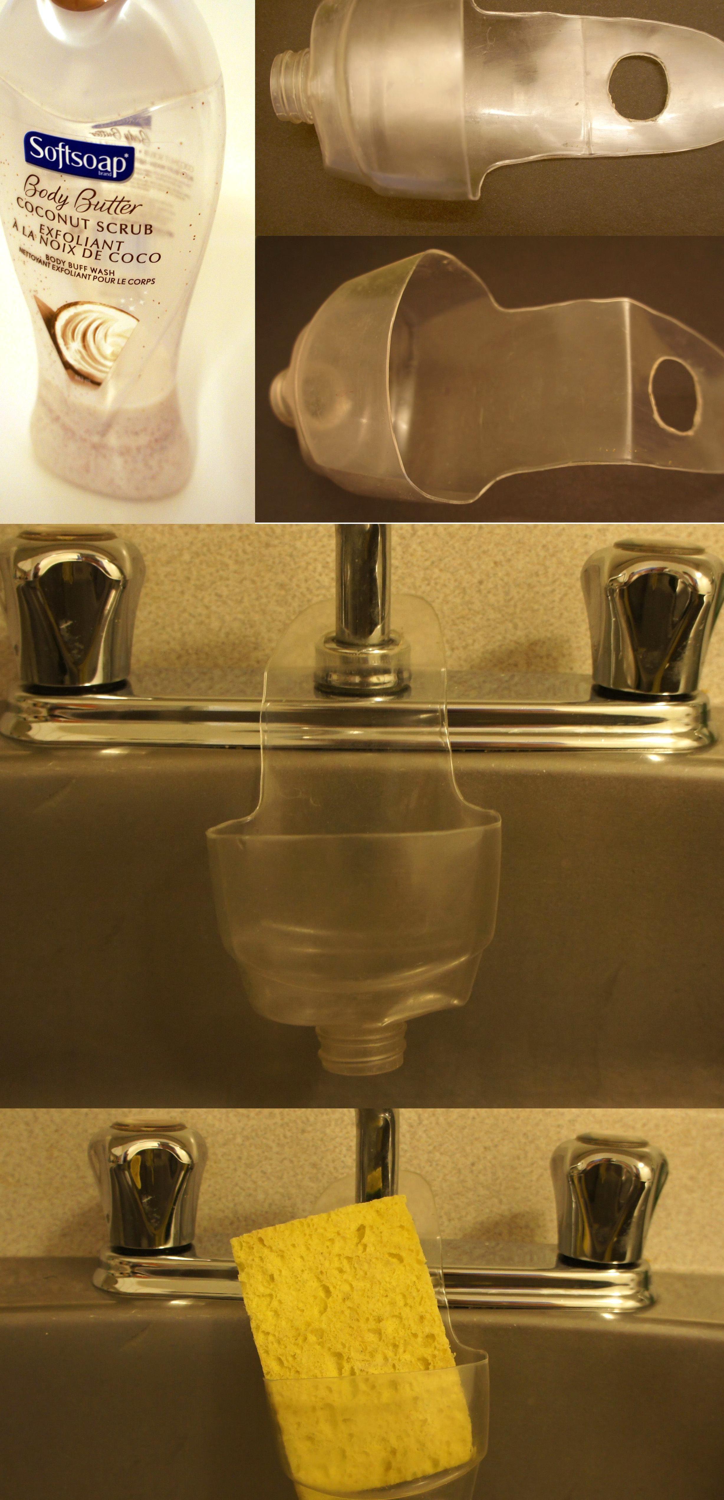 Kitchen Sink Sponge Holder From Plastic Bottle Diy Plastic Bottle Plastic Bottle Crafts Recycle Plastic Bottles