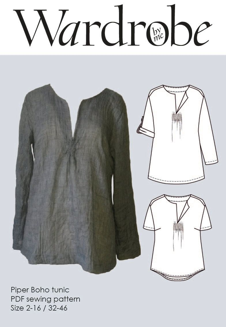 Boho tunic pattern, Sewing patterns tunic PDF pattern for women ...