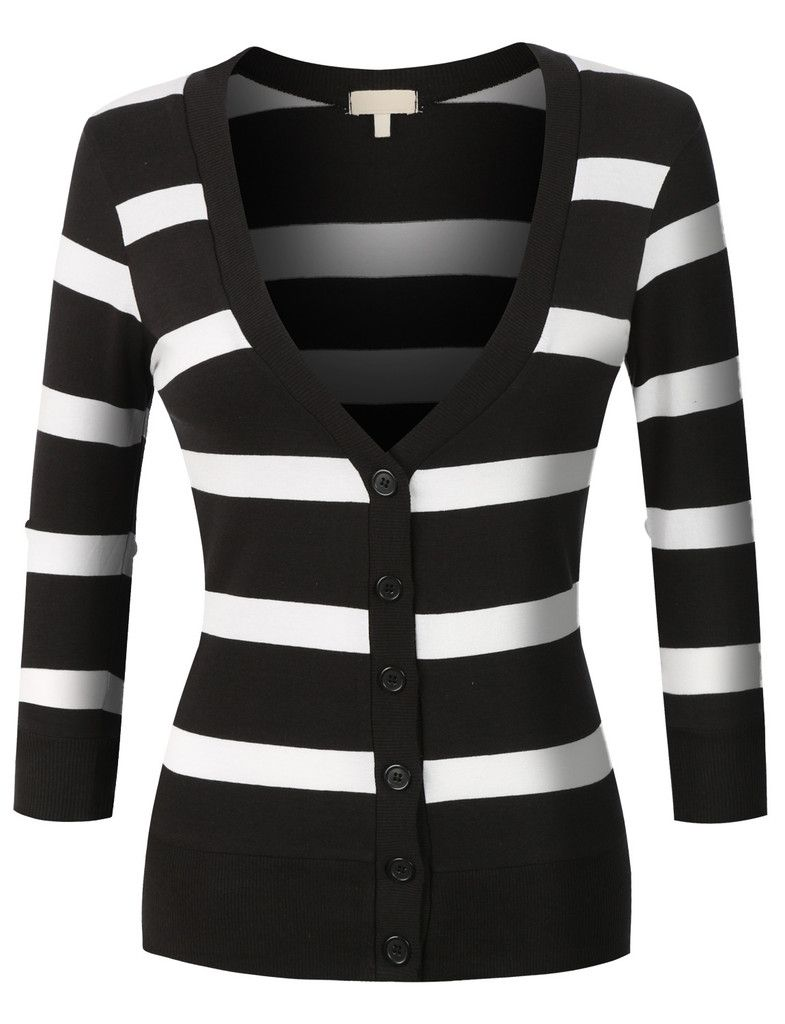 LE3NO Womens Lightweight 3/4 Sleeve Striped V Neck Cardigan | My ...