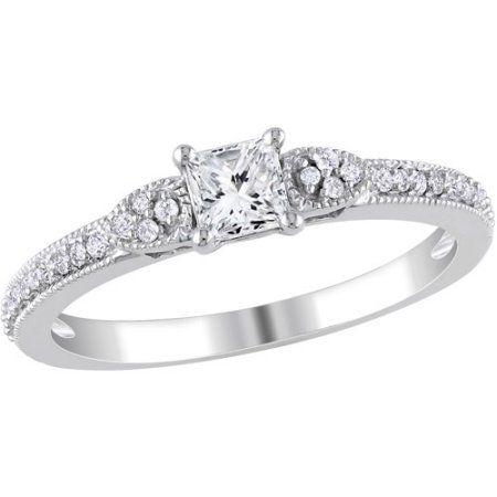 Miabella 1/2 Carat T.W. Princess- and Round-Cut Diamond 10kt White Gold Engagement Ring, Women's, Size: 9