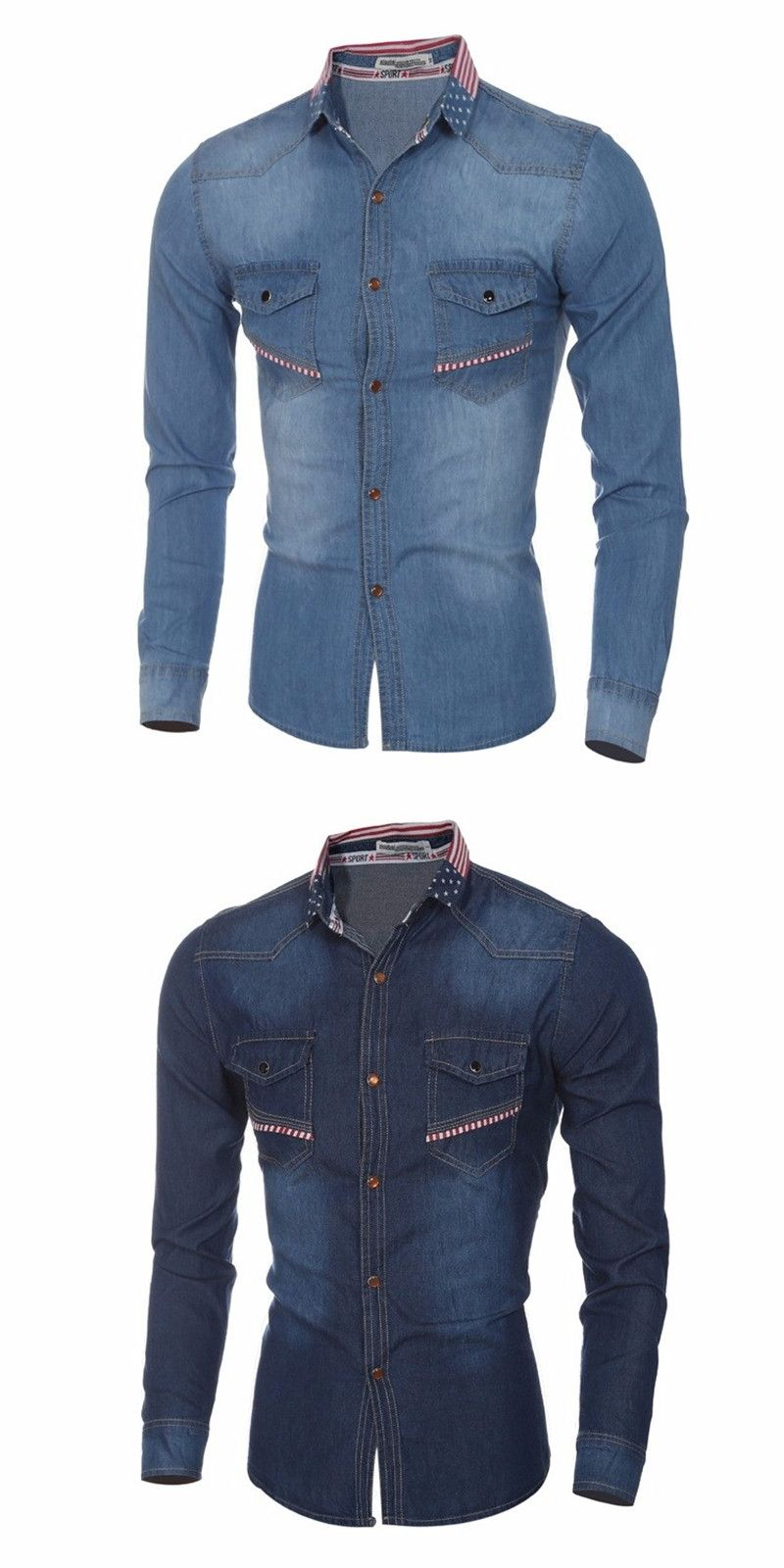 caf32cdc2a9 New 2016 Brand Men Denim Shirt Slim Fit Casual Jeans Shirt Long Sleeve Male  Cowboy Shirts Camisa Jeans Masculina chemise homme
