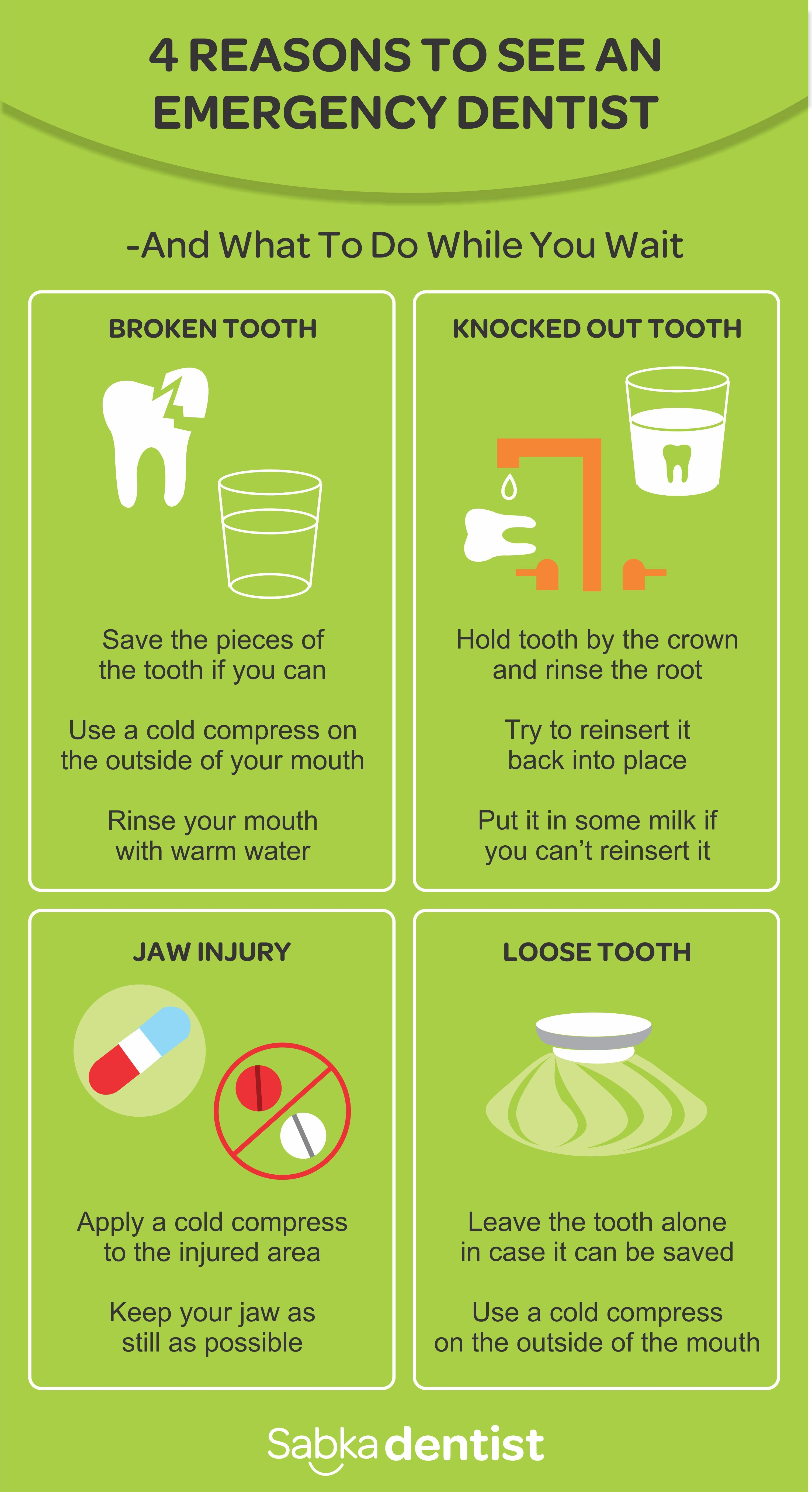 Reasons to see an emergency dentist and what to do while you wait.