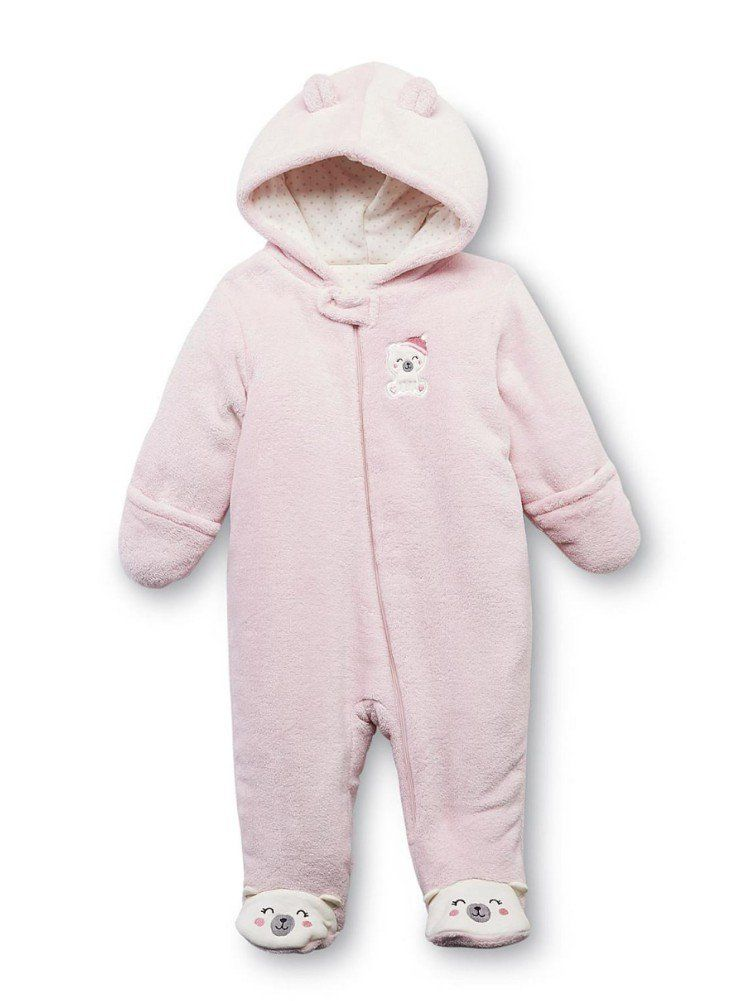 96f8456c4 Little Wonders Infant Girls Plush Pink Bear Snowsuit Baby Pram Snow Suit  0-3m.