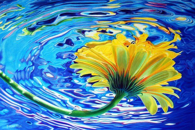 Ester Roi colored pencil drawings of #flower in water.