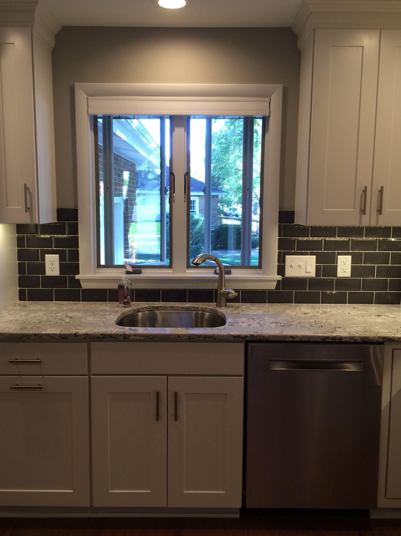 Cambria Summerhill, Dark Gray Subway, White Cabinets | Kitchen ...