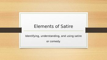 Elements Of Satire Middle School Classroom Satire School Classroom