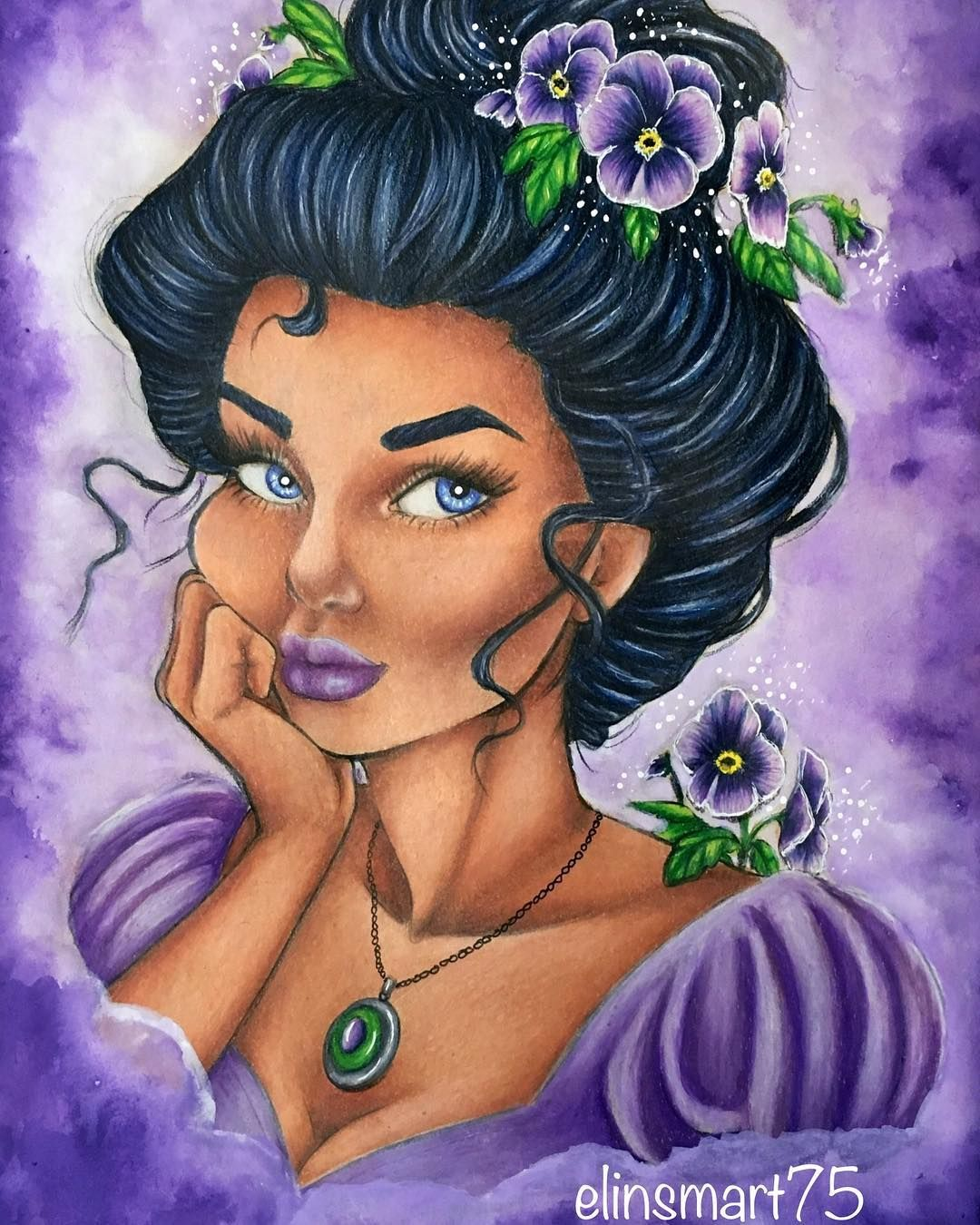 Pansy from Flower Girls Coloring Book by Lydia Fenwick. Colored with ...