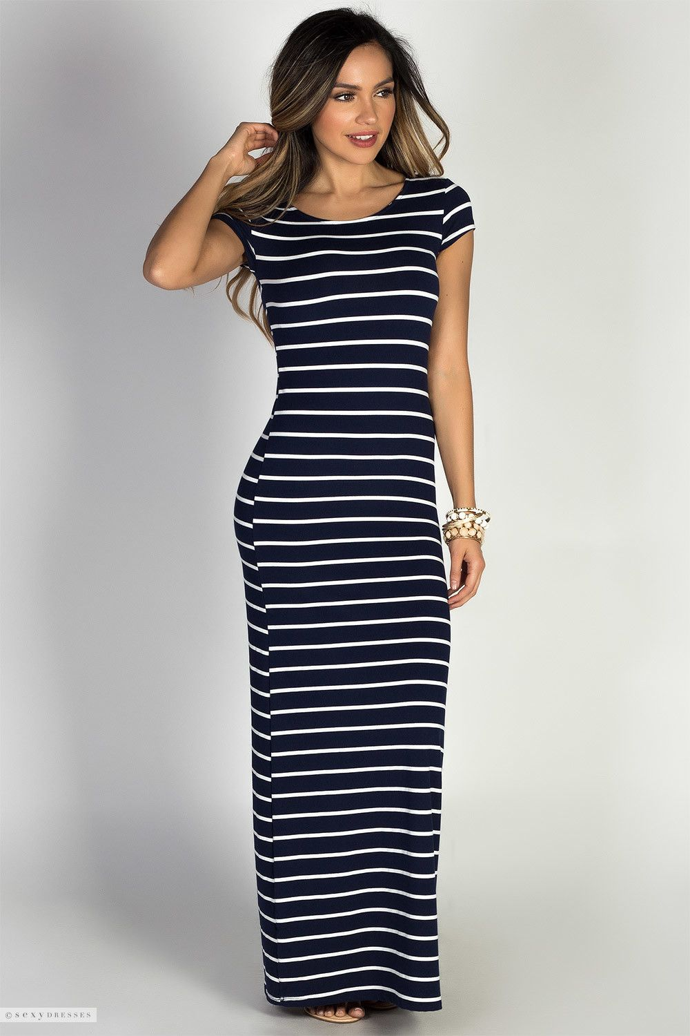 754efbf185e White & Navy Stripe Print Jersey Casual Long Summer Dress with Sleeves