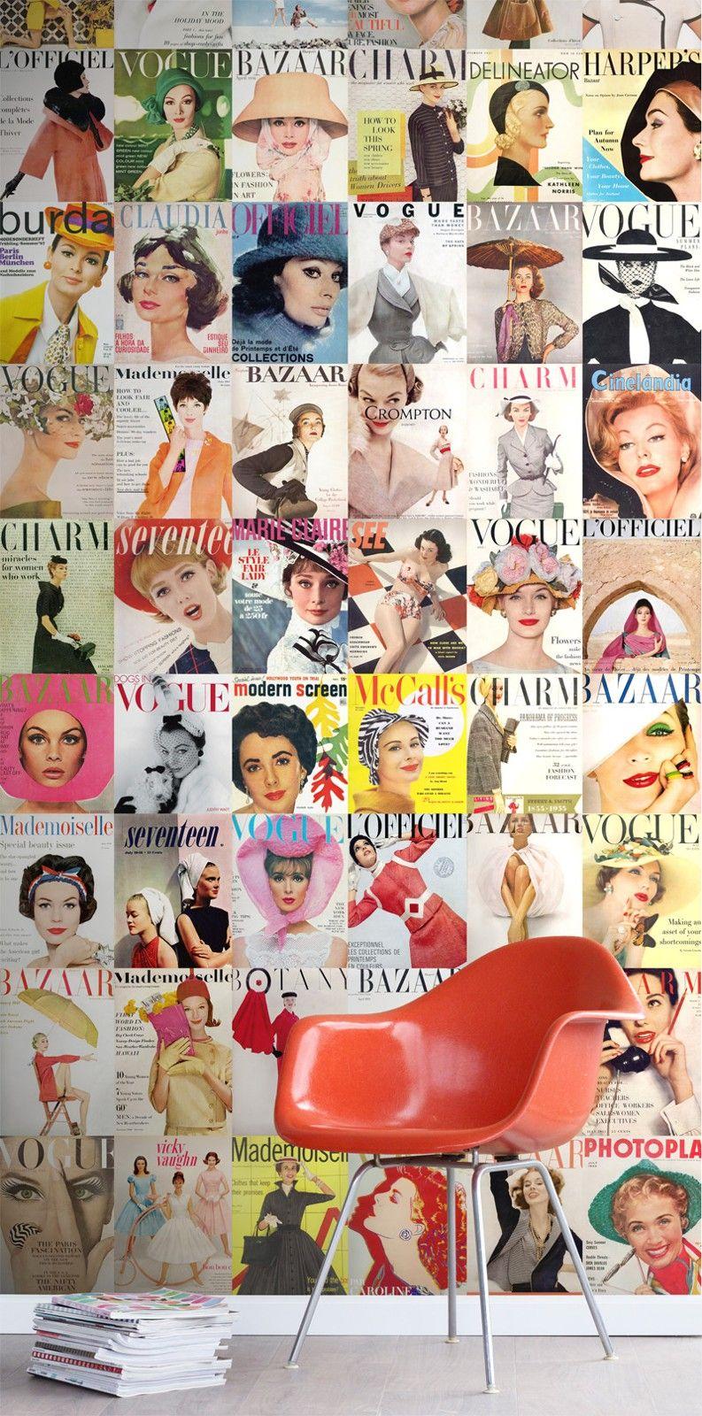Estan Magazinecovers-paneelitapetti tuo palan muotinostalgiaa kotiin tai työhuoneelle! Menneiden vuosikymmenten muotilehtien kuten Voguen ja Bazaarin kannet ovat tämän näyttävän tapetin aiheena.