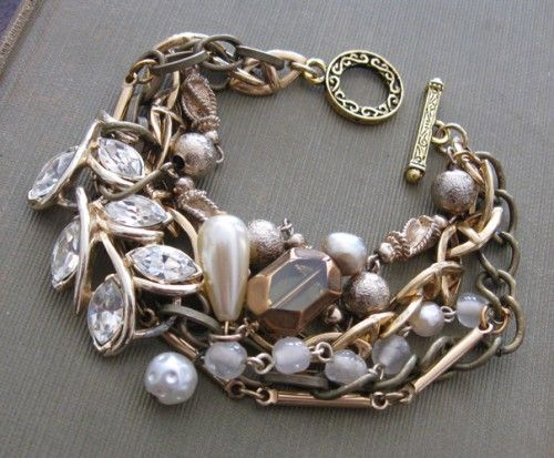Vintage Rhinestone and Glass Pearl Gold Layered Bracelet
