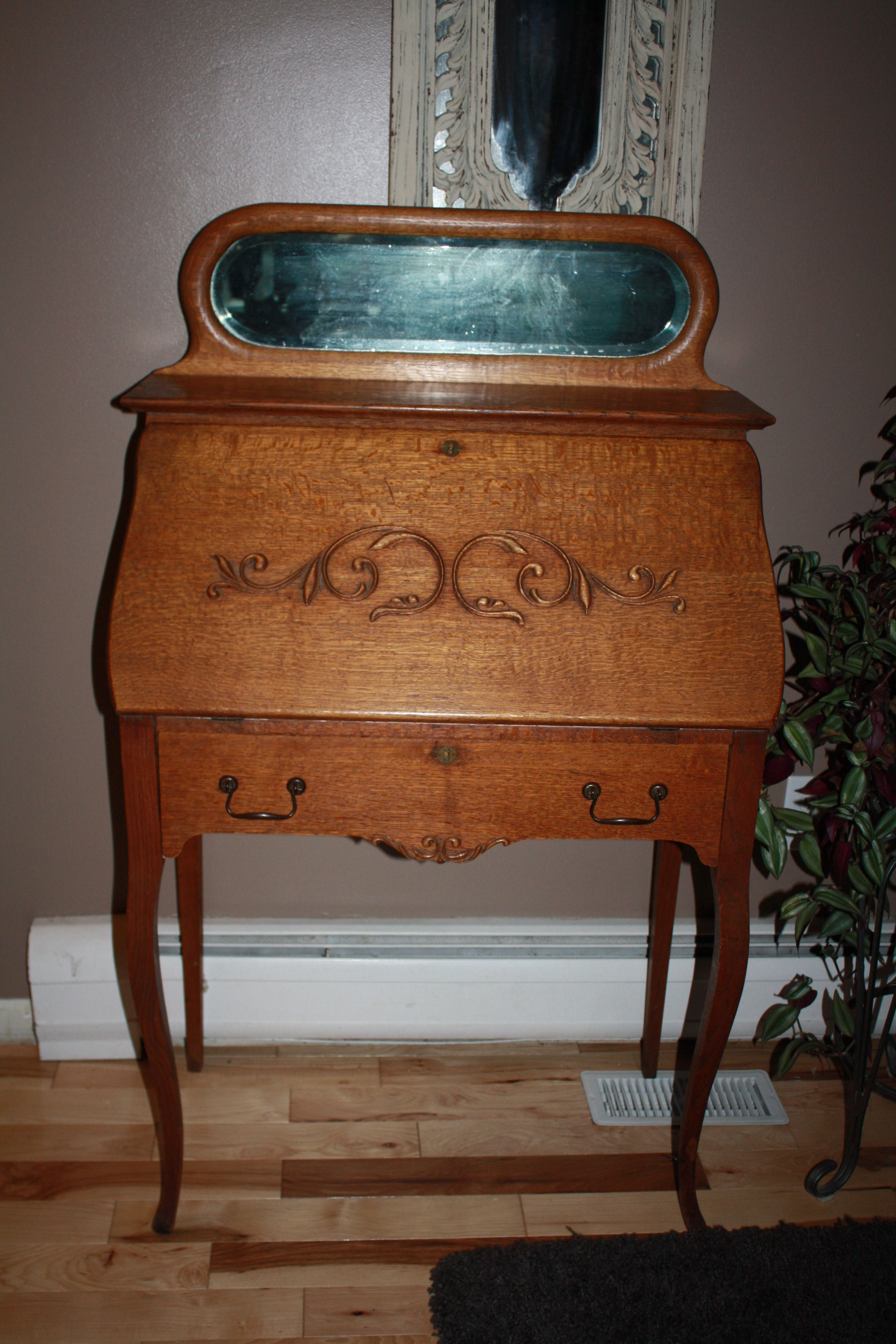 Ornate Secretary Desk Antique For Sale By Redeemed Furnishings