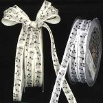 "Black and white woven music notes ribbon.  Great 3/8"" size for crafting, wrapping and favors! $8.95"