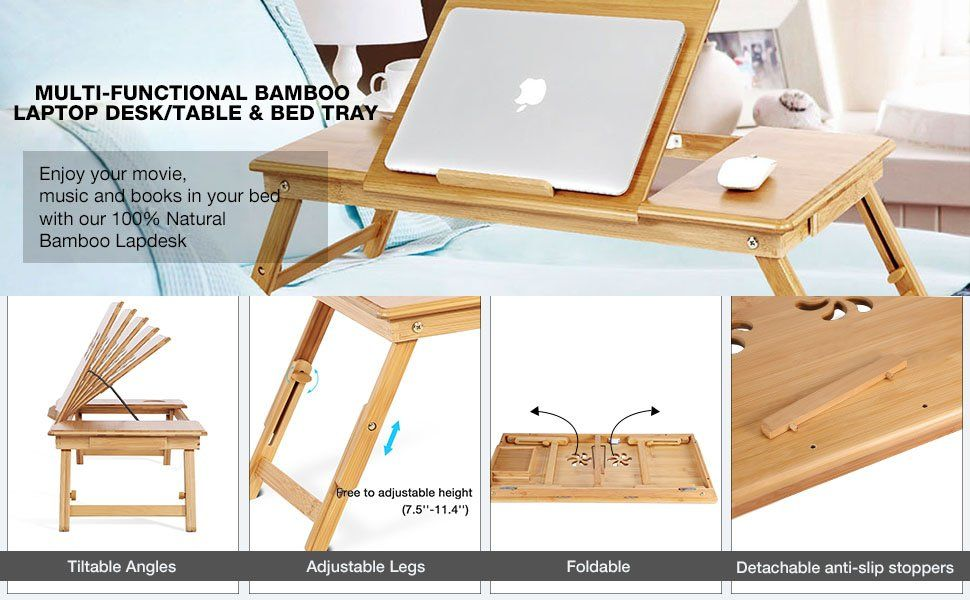 Portable Bamboo Foldable Laptop Desk Notebook Adjustable Height Tray Table Bed Table With Drawer Amazon Co Uk Computers Access Desk Desk Notebook Bed Table