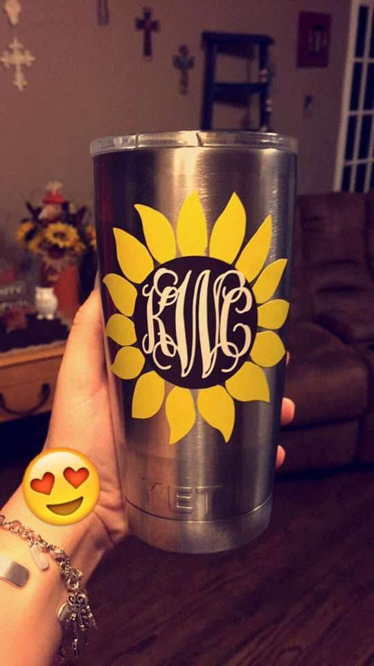 Sunflower Yeti Decal Yeti Tumbler Decal By StaceyFlashyFashions - Custom vinyl decals for cups
