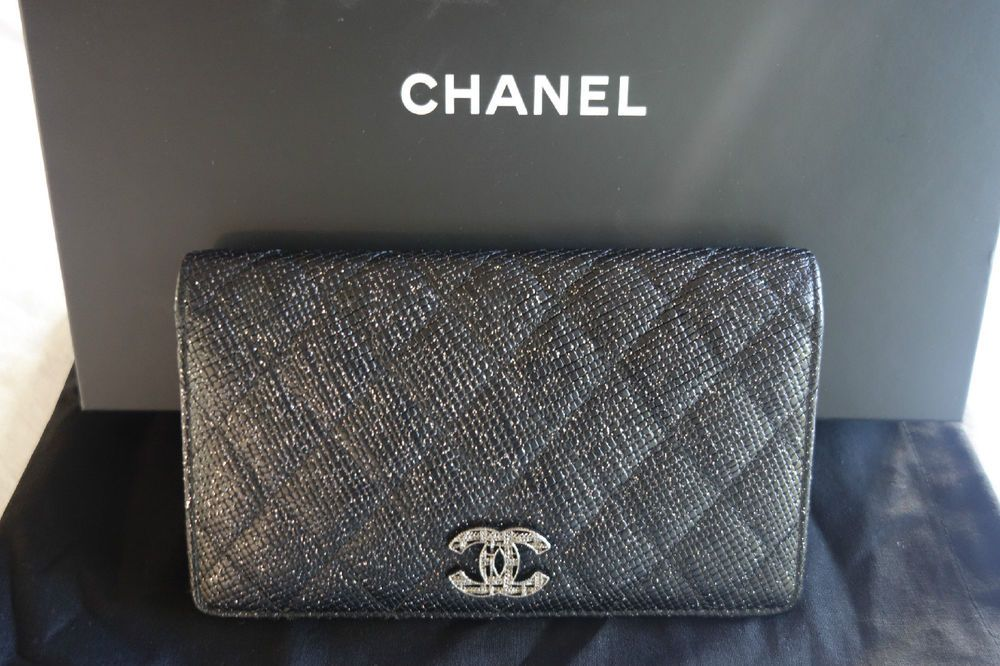 Authentic Chanel Black Caviar Glitter Leather Wallet Clutch Limited Edition Clutch Wallet Wallet Chanel Black