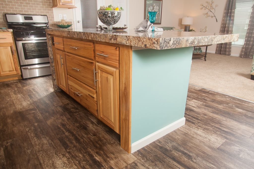 Colony Homes Tl820a Timberland Ranch Kitchen Island Hickory Cabinetry Waterfall Countertop