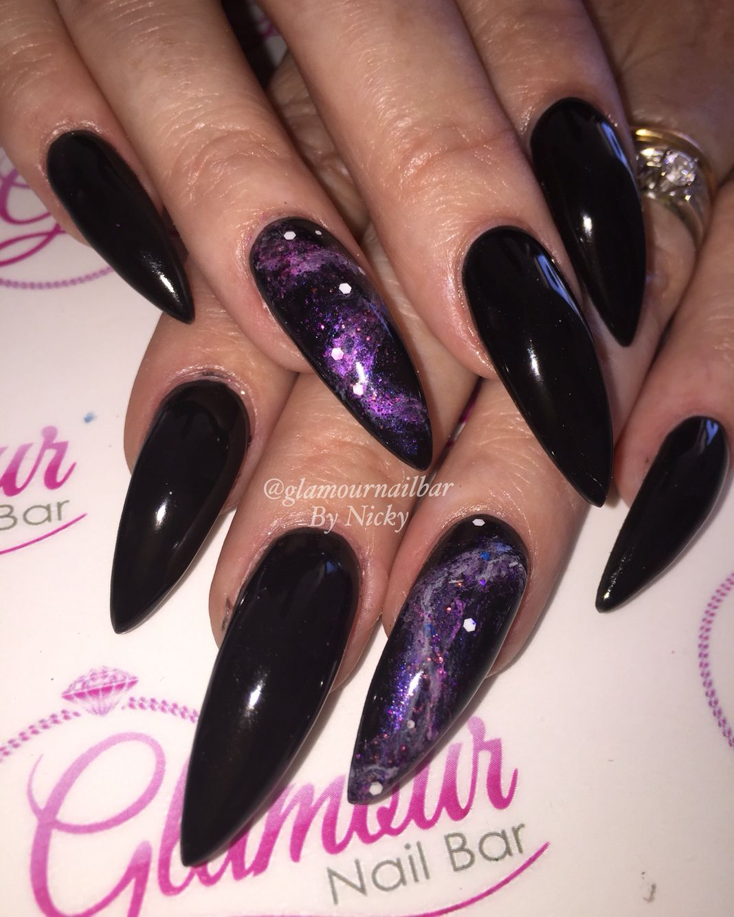 I\'m in love with set of acrylics I created today! Stunning black ...