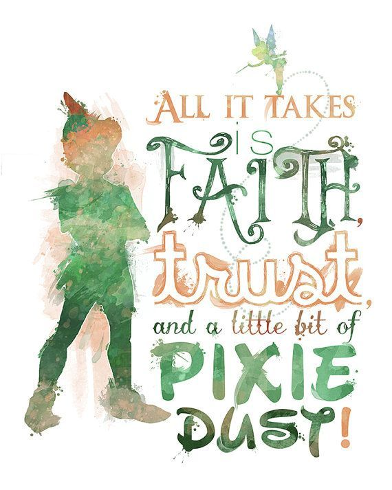 Peter Pan Faith Trust And Pixie Dust 8x10 Printable Poster