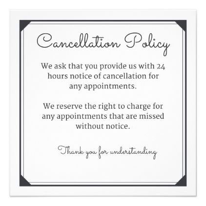 Cancellation Policy Card