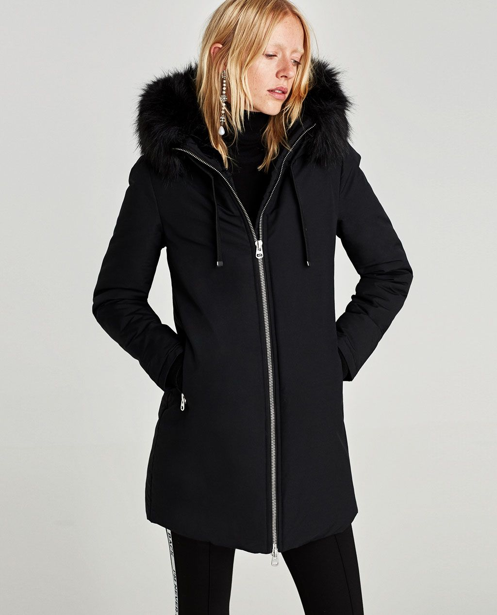 image 2 de parka d perlante capuche de zara wanted. Black Bedroom Furniture Sets. Home Design Ideas