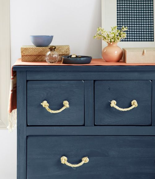 Replace Hardware Drawer Pulls With Natural Sisal Rope.