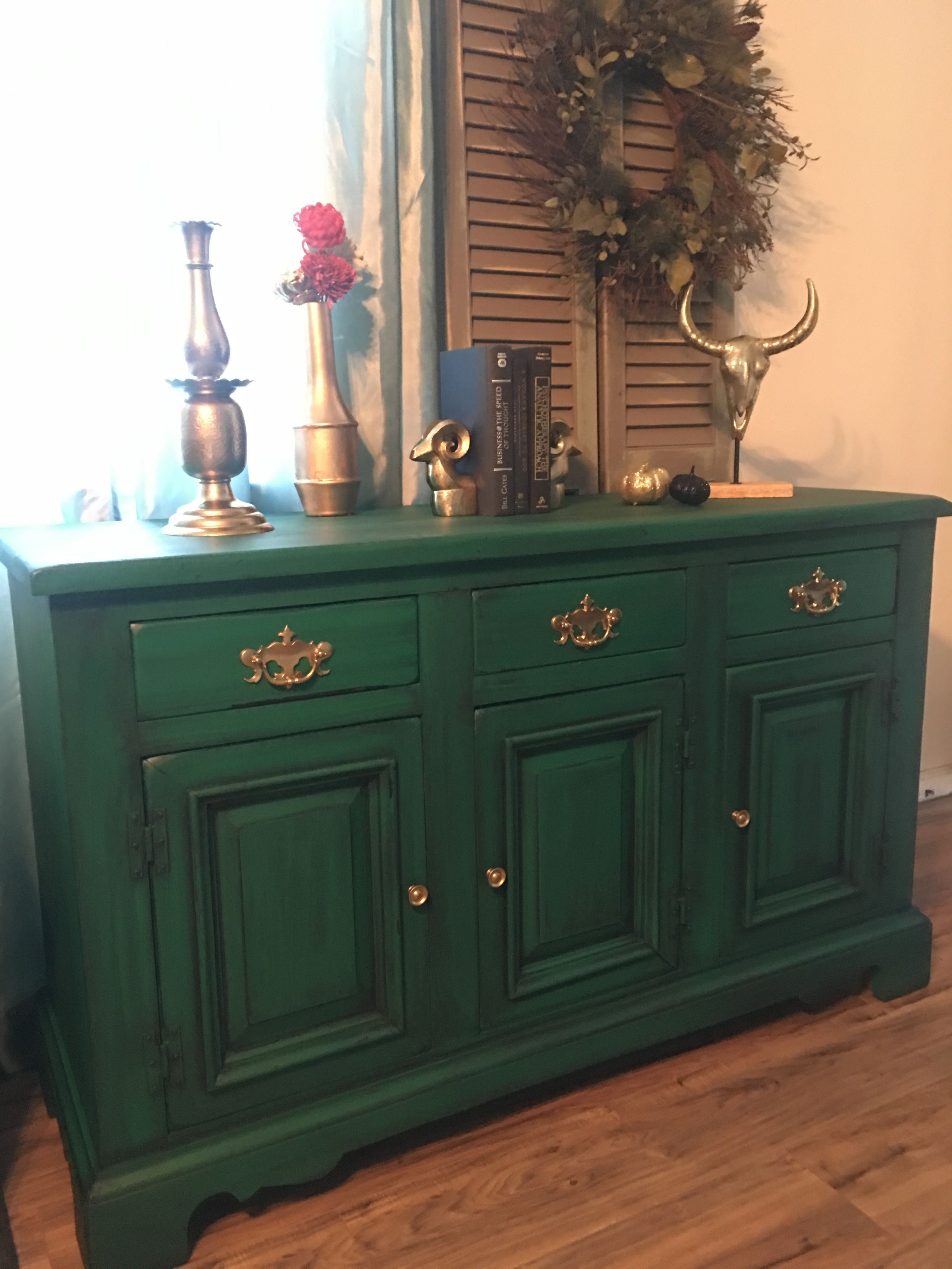 Refinished Emerald Green Buffet With Black Glaze Finish Green Painted Furniture Painted Furniture Colors Furniture Makeover