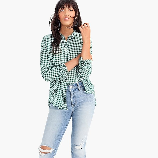 aee3c094bc6 women s petite relaxed boy shirt in crinkle gingham - women s shirts.  classic-fit ...