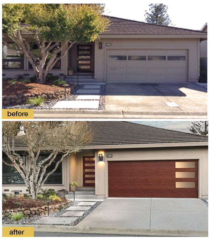 A New Front Door And Clopay Modern Steel Collection Faux Wood