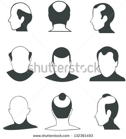 Silhouette Bald Heads Man Face And Fashion Hairstyle Vector Icon Collection Set In Various Type And Angle Bald Head Man Old Man Face Bald Heads