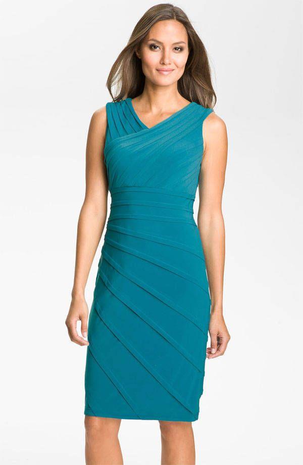 Adrianna Papell V Neck Shutter Pleat Jersey Sheath Dress