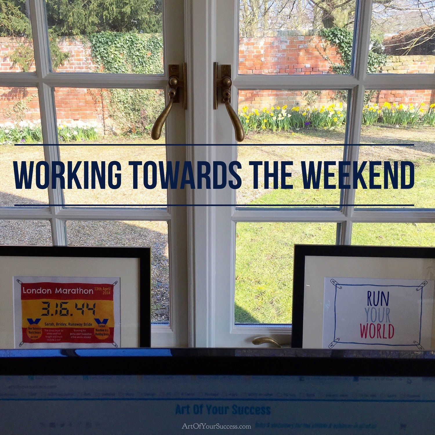 The weekend is calling. Inspiring view from my desk. Have you got some great training / adventures planned? You can see a couple of my inspirational quote & marathon prints here, keeping my motivation up! #marathon #giftsforrunners #motivationprint #wallart
