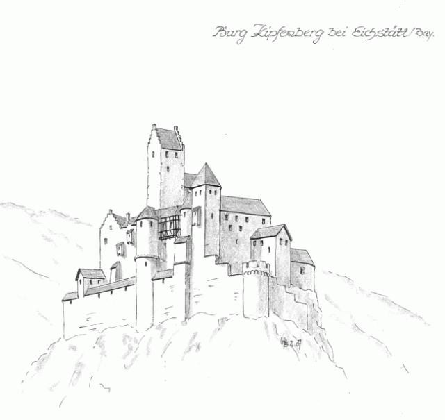 Castle Kipfenberg Häuser zeichnen, Schlosszeichnung