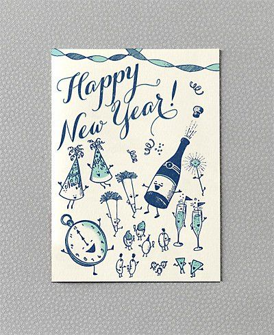 vintage new years card i love the vintage style little characters i want to draw some now