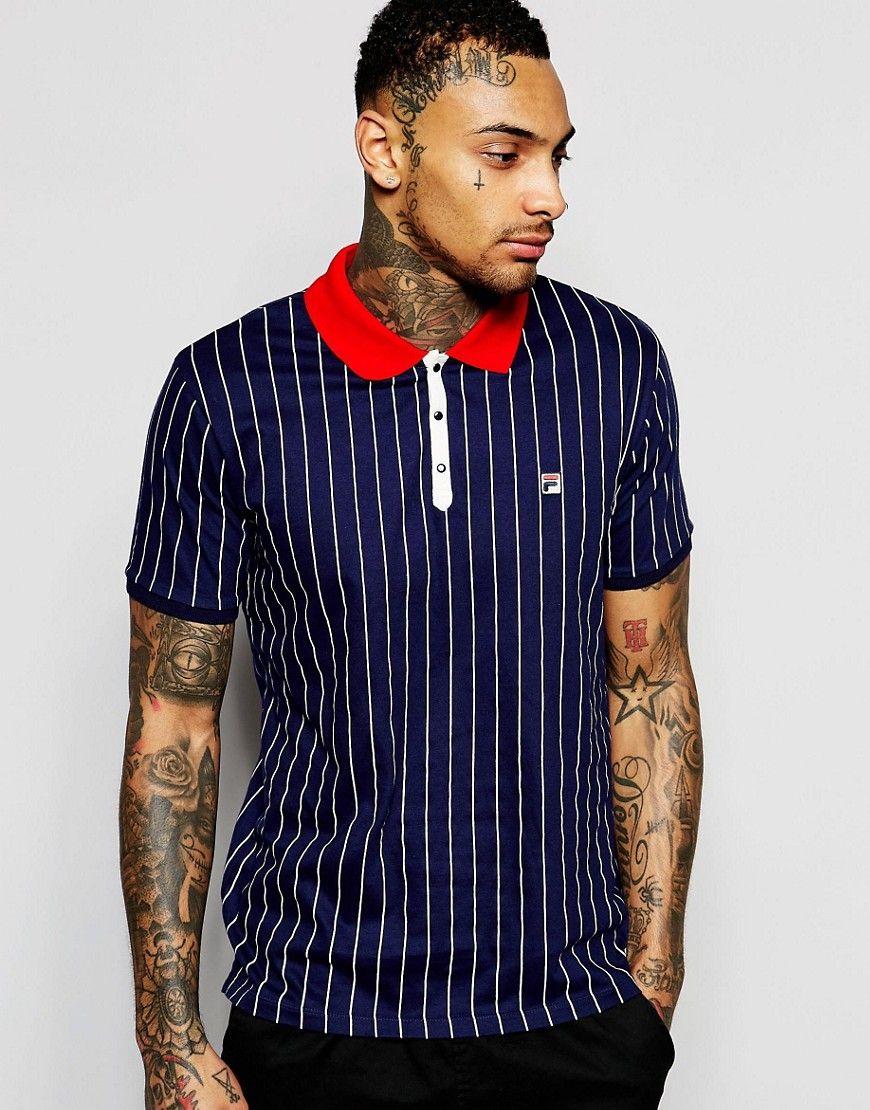 41fbfefb6570b7 Fila+Vintage+Polo+Shirt+In+Pinstripe