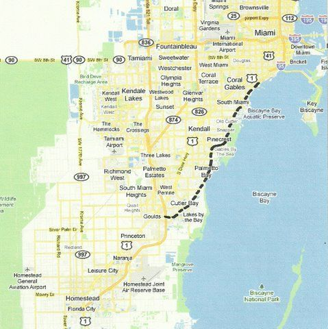 Florida Backroads Travel map of route from Coconut Grove south to