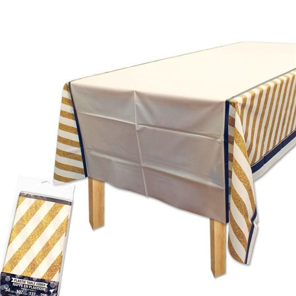 Black Gold Plastic Table Covers New Years Eve December 31