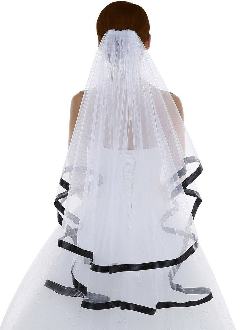 White Short Wedding Veil With Black Ribbon Edge Ivory Veils Comb 2 Layer Bridal