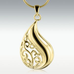 Filigree Tear 14k Gold Vermeil Cremation Jewelry - Engravable