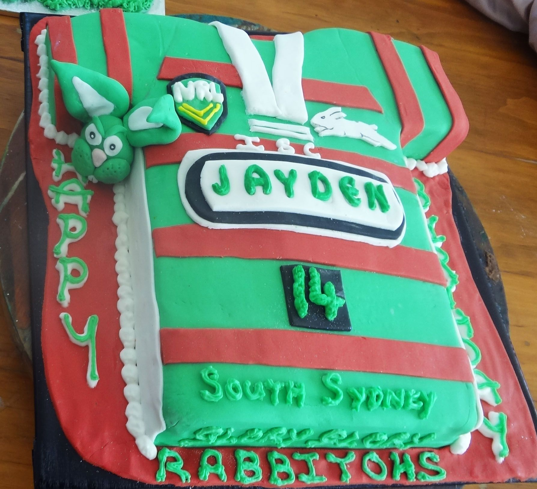 South Sydney Rabbitoh's Shirt Cake By Novy NRL Rugby