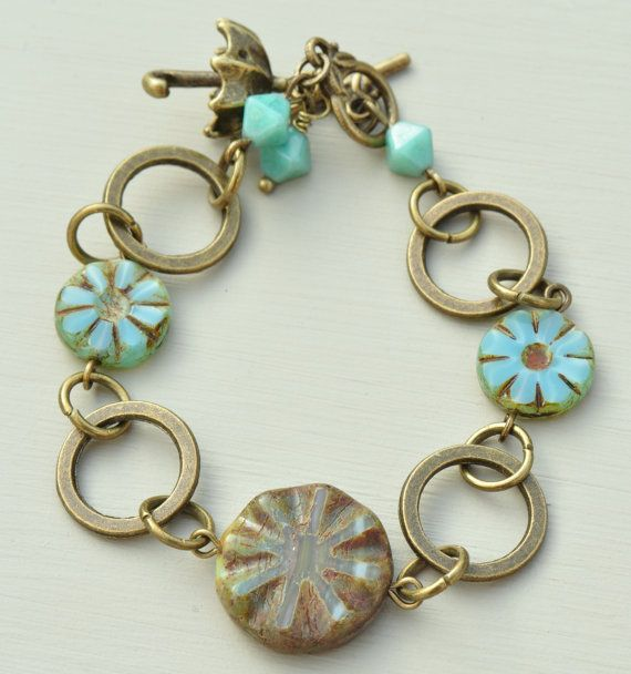 Turquoise Czech Picasso Bracelet with Ring by MidnightStarDesigns, £11.00