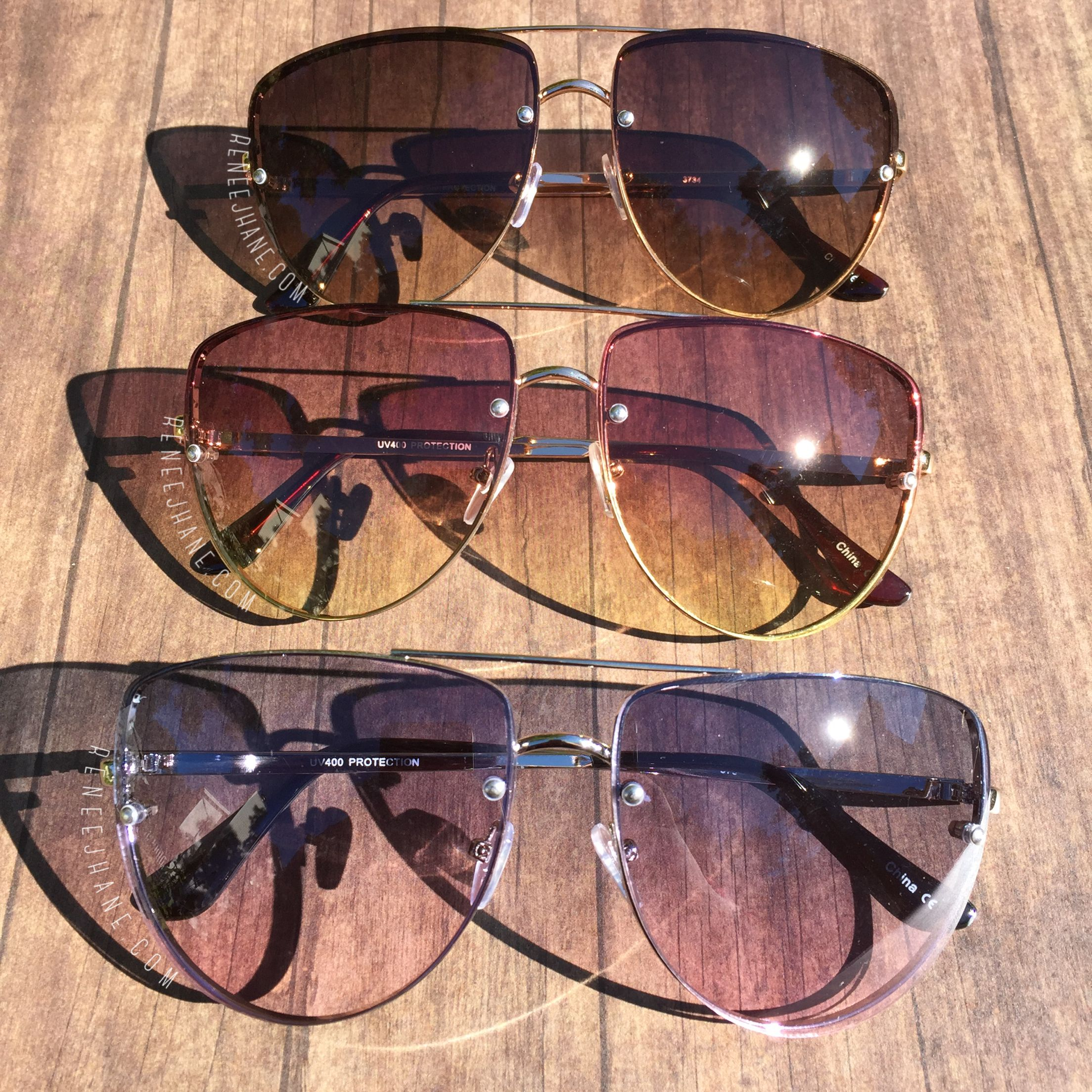33a73d2bbfc Flat Top Aviator Sunglasses •gold frame brown lens •gold frame rose ombré  lens •silver frame blue pink lens