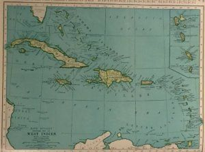 Vintage map of cuba the west indies rand mcnally colliers world map of cuba and the west indies rand mcnally c1949 gumiabroncs Image collections