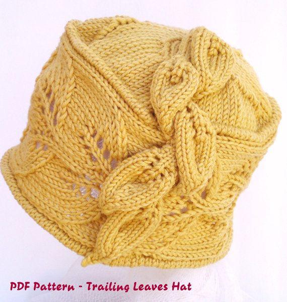 PDF Pattern Women Knit Cloche Hat - Trailing Leaves Cloche Hat