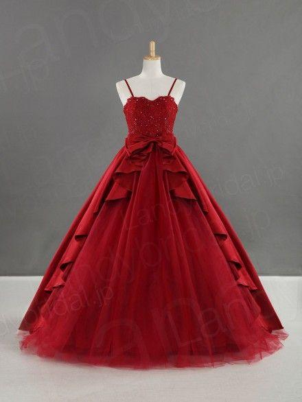 fdde0ae203a83 カラードレス プリンセスライン バーガンディ色 可愛いリボン サテン チュール B22077-w