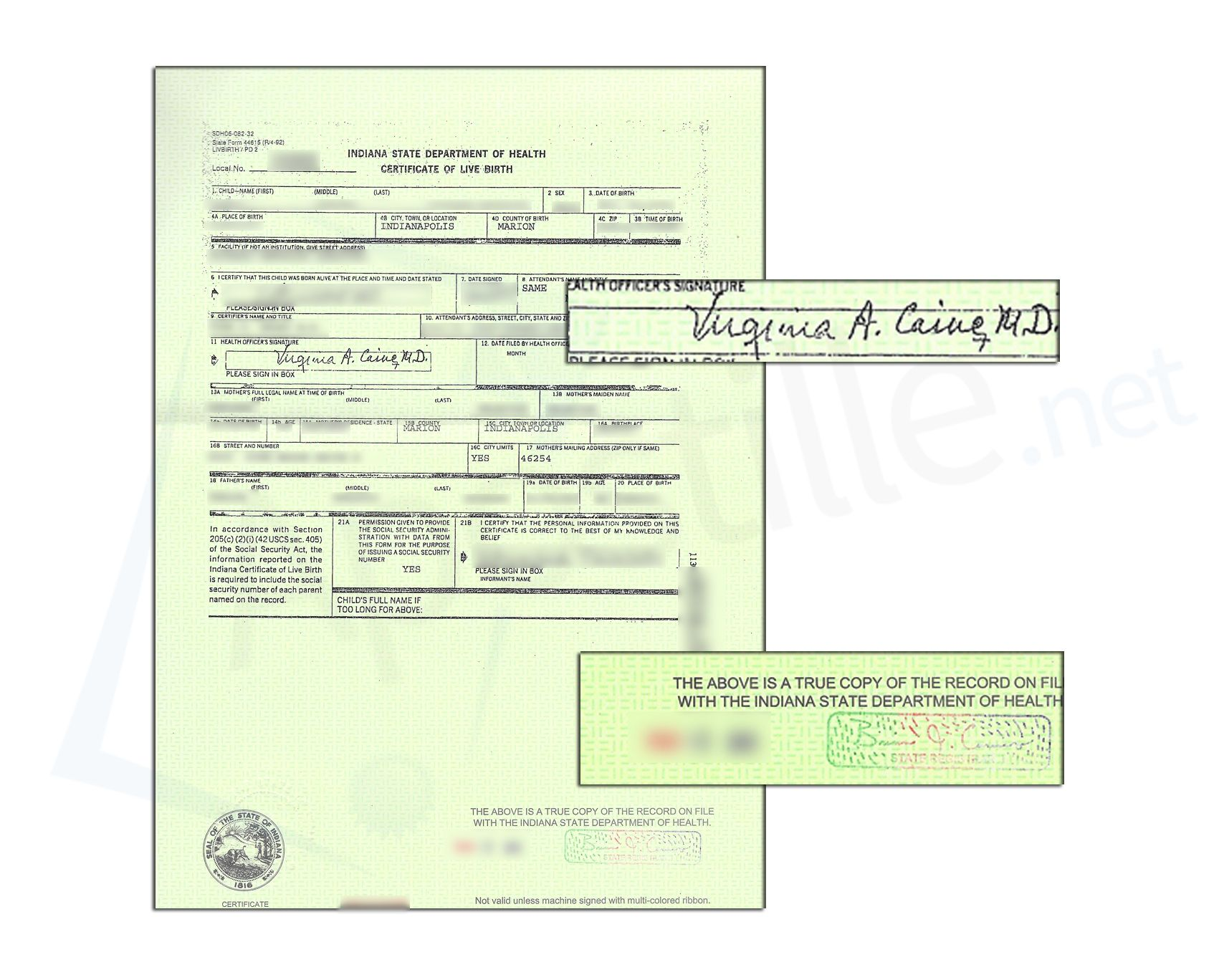 State Of Indiana Marion County Birth Certificate Signed By Virginia