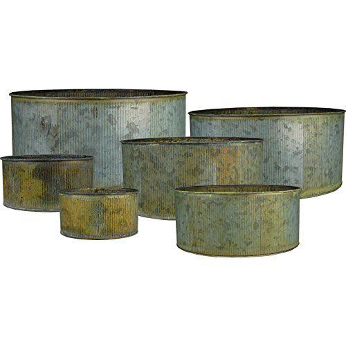 CYS® acanalada de zinc metal galvanizado Tiesto jarrones de cilindro, macetas, jardineras - Conjunto de 6