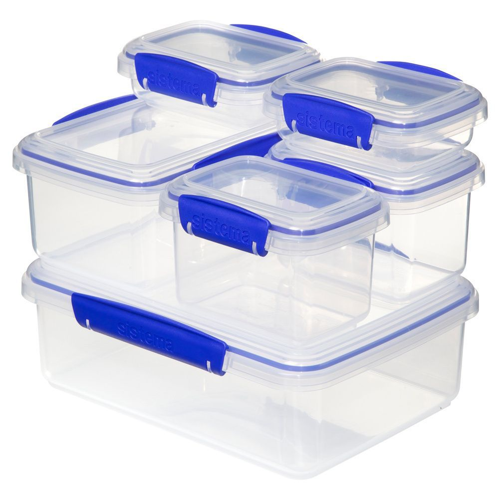 Sistema Klip It Rectangular Storage Containers 6 pack Clear