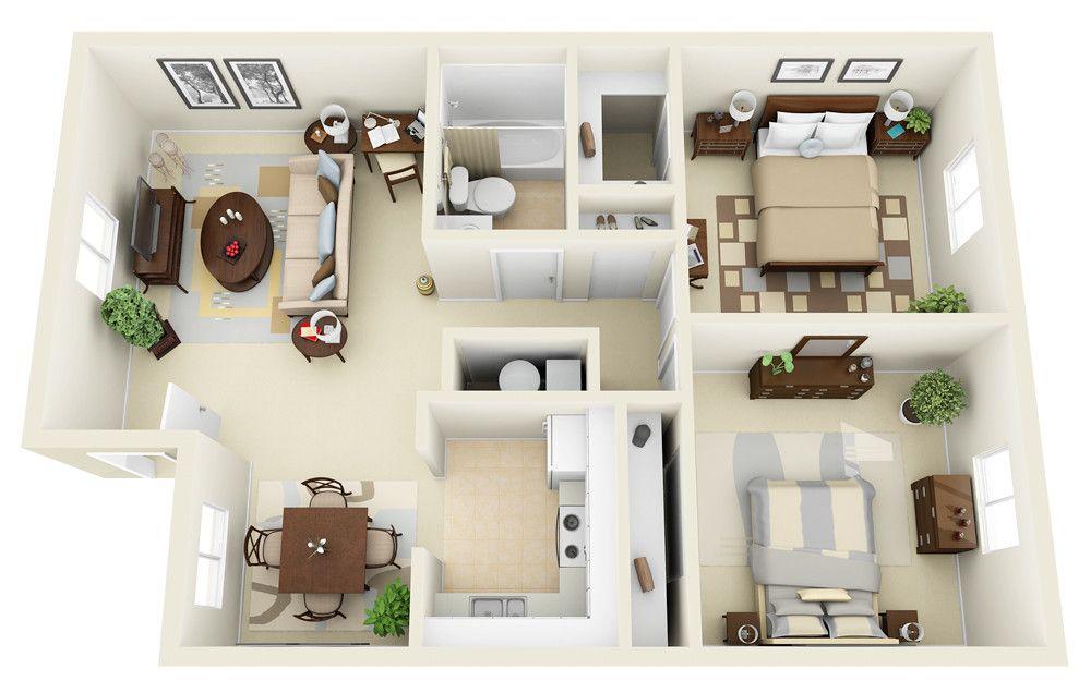 2 1 3d Floor Plan Small House 3d Floor Plan Apartment Floor Plans Small Apartment Floor Plans