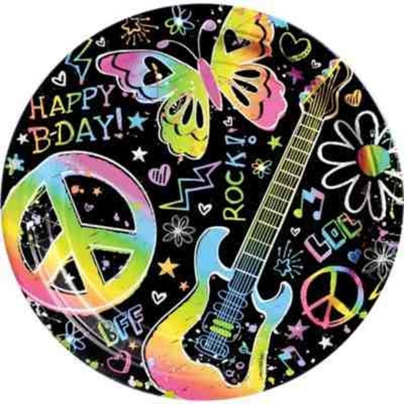 Neon Doodle Peace Guitar Birthday Party Tableware Supplies ...