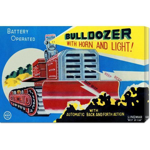 Battery Operated Bulldozer with Horn and Light: 14.7 x 22 Canvas Giclees, Wall Art
